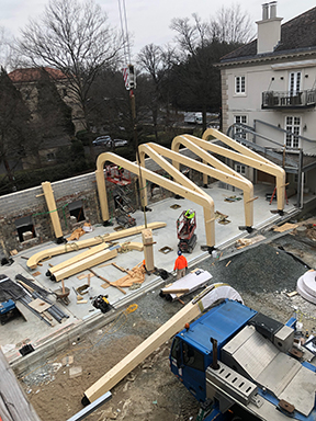 Framing for First Line of Columns at Garden Room
