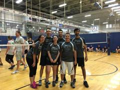 Volleyball team: Gabi, Sikandar, Mackenzie, Maurice, David, and Ammar.