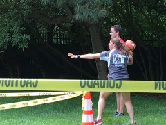 Catherine competing in the obstacle course relay.
