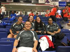 Catherine, Macenzie, Gabi, Christina, and David watching the competition.