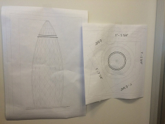 Original plans for the sculpture.  The structure was approximately 3 feet high.