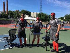 Chair Hockey Team: Frank, Macenzie, and Steve