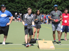 James Competing in Corn Hole