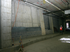 An interior shot of a sloping wall.