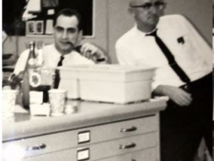 "Alex and Azer (circa late 1960s) in the Rockville Office.  Check out Azer's ""ever-present"" pipe! Mad Men Days"