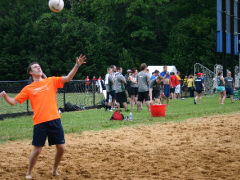 The SK&A team playing volleyball.