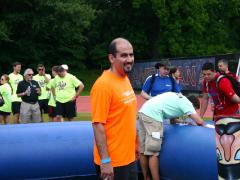 Principal, Walid Choueiri, gets ready to joust.