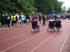 Project Manager, Steven Wiemeler takes the lead in the chair relay.