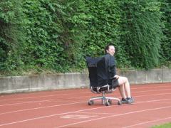 Macenzie competing in the chair relay.