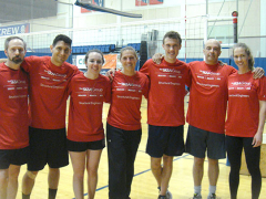 Indoor volleyball team strikes a pose: from left, Tom, Maurice, Macenzie, Catherine, Jonathan, Hakan & Jessie