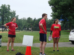 Structural Engineers, Catherine Pastoor and Jonathan Gallis awaiting their turn in the obstacle course.