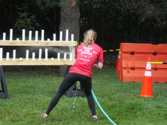 Structural Engineer, Jessica Chrismer competing in the obstacle course.