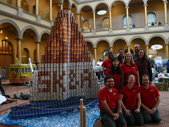 Canstruction team members (l to r): Charmaine Josiah, Maurice O'Connor, Jim P., Jennifer, Louise, Kellie, David, Katie and Joe Uchno (not shown, Jessica Wakeman and Scott Kabat).